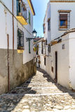 The Arabic Quarter of Albaicin. A street in the old Albaicin district of the city of Granada near the Alhambra stock images