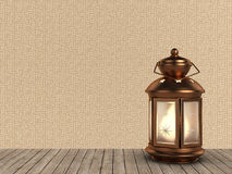Arabic Ramadan Lantern. 3D Illustration of an Arabic Ramadan Lantern in Copper Style over a Kufic Ramadan Typo Background stock illustration