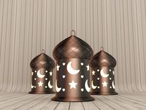Arabic Ramadan Lantern. 3D Illustration of Round Arabic Ramadan Lantern in Copper with Illuminated Glasses over a Wood Planks Background Stock Photography