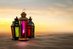 Arabic Ramadan Lantern. On desert dunes Royalty Free Stock Photo