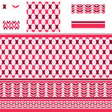 Arabic rectangle star red pink seamless pattern Royalty Free Stock Photo