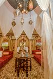 Arabic restaurant interior with tables, chairs and shisha at resort royalty free stock image