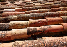 Arabic roof tiles pattern texture in Teruel Spain Stock Photos
