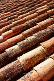 Arabic roof tiles pattern texture in Teruel Spain Stock Image