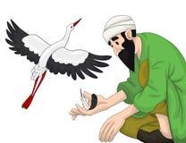 Arab man stork clipart cartoon style  illustration white b Royalty Free Stock Photos