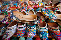 Arabic Sandals. Traditional Arabic sandals displayed at a souq in UAE Royalty Free Stock Photos