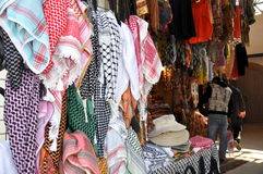 Arabic scarfs. Colorful arabic scarfs at market Royalty Free Stock Images
