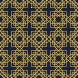 Arabic seamless geometric pattern on gold texture. Abstract seamless geometric pattern on golden glittering texture. Arabic ornament. Islamic design. Retro style Stock Photos