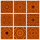 Arabic seamless ornamental pattern backgrounds. Ethnic traditional arab islamic ornate tiles. Arabesque decorative ornament Stock Images