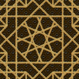 Arabic seamless pattern embroidery with gold thread style. Traditional arab geometric decorative background Vector Royalty Free Stock Photo
