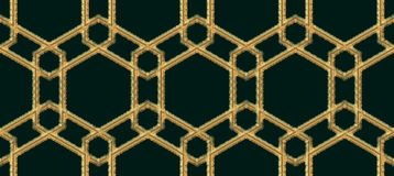 Arabic seamless pattern embroidery with gold thread style. Traditional arab geometric decorative background Vector Stock Photography