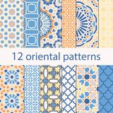 Arabic seamless patterns. 12 arabic seamless patterns. Oriental ornament for background Stock Image
