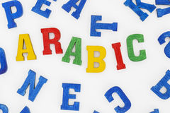 Arabic. Series modern languages: Word Arabic in colorful letters on white background Stock Photo