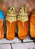 Arabic Shoes. A pair of embroidered fancy Arabic shoes for men stock photo