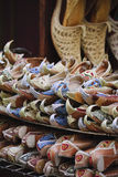 Arabic shoes. Selling at old souk in dubai Stock Photos