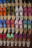 Arabic Shoes. Colorful arabic shoes alignment for sale on street Royalty Free Stock Image