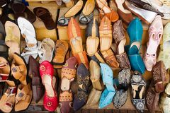 Arabic shoes. Colorful arabic shoes alignment in a shop Royalty Free Stock Photos