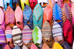 Arabic shoes. Colorful arabic shoes alignment in a shop Stock Photo