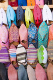 Arabic shoes. Colorful arabic shoes alignment in a shop Royalty Free Stock Image
