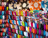 Arabic shoes. Colorful arabic shoes alignment in a shop Royalty Free Stock Photo