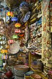 The arabic shop with abundance of oriental traditional handmaded. Jerusalem, Israel - May 11, 2018: The arabic market street shop with abundance of oriental Stock Photos