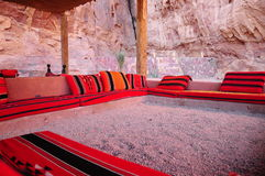 Arabic sofas. Red and black colored arabic style sofas Stock Images