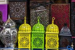 Arabic souvenirs, lamps. Moroccan oriental traditional souvenirs Stock Photography