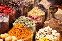 Arabic Spices At The Market Souk Madinat Jumeirah In Dubai, UAE Stock Photo