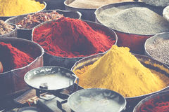 Arabic spices at traditional market. Morocco. Africa. Royalty Free Stock Image