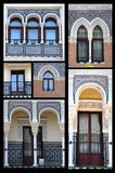 Arabic style. Collage  of  windows and doors in arabic style in Andalusia, Spain Royalty Free Stock Images