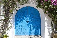 Arabic style door. Deep blue with ornament Stock Photos