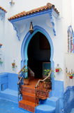 Arabic style door in blue city Chefchaouen Stock Image