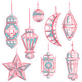 Arabic style lanterns collection Royalty Free Stock Photo