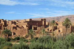 Arabic style oasis town in Morocco. Old arabic buildings of clay, arabic ancient arcitecture, traditional houses in Africa Royalty Free Stock Image