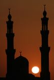 Arabic Sunset. Mosque in the evening, Hurghada, Egypt, silhouette Royalty Free Stock Image