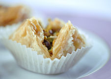 Arabic sweet- Baklawa. Extreme close up of Arabic sweet- Baklawa Royalty Free Stock Photos