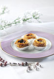 Arabic sweet- Kunafa. Arabic dessert in an elegant setting Royalty Free Stock Images