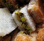 Arabic Sweets 1. Close-up of various traditional Arabic sweet pastries Stock Photo