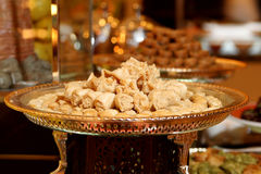 Arabic sweets. In dessert station Stock Photo
