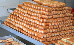 Arabic sweets. Preparing the arabic sweets in small factory Stock Image