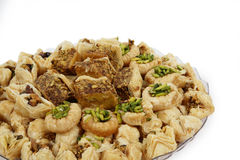 Arabic sweets. A tray of traditional arabic sweets of the kind that are given at celebrations such as ramadan and eid Royalty Free Stock Photo