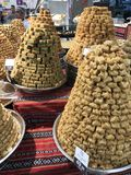 Arabic sweets. Or baklava on a stall in a grocery Royalty Free Stock Image