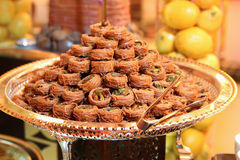 Arabic sweets baklava. In dessert station Stock Photos