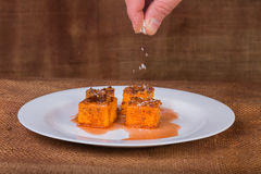 Arabic sweets. East dessert. Carrot cake. Arabic sweets. East cuisine. Eastern food. Delicious food Stock Photo