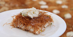 Arabic Sweets Esmalliyeh. Esmalliyeh Arabic Dessert in a Plate Stock Image