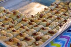 Arabic sweets in the market. stock photos