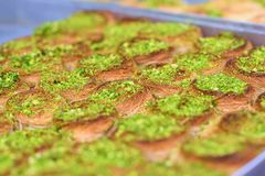 Arabic sweets in the market. royalty free stock photo