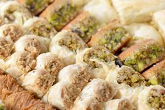 Arabic sweets. With nuts  , close up shot Royalty Free Stock Photos