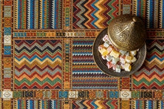 Arabic sweets on the traditional Persian rug Royalty Free Stock Photos