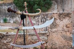 Arabic swords. Old arabic swords in Almossassa, Badajoz Stock Photography